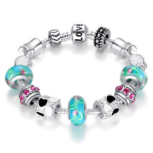 Wostu Christmas silver Charms Bracelet With Blue Murano Bead For Women Jewelry