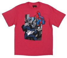 Marvel Red Tee 8-Bit Spider-man and Venom Minecraft Mad Engine T-Shirt Large L