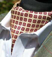 Silk Cravat Ascot.Quality Hand Made in UK. Light Gold & Red DBC03-20411-7
