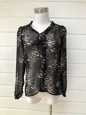 PORTMANS Sheer Black Pussybow Button Down Blouse With Bow Print - Size 6