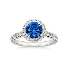2.60 Ct Round Cut Blue Sapphire 14K Solid White Gold Diamond Rings Size M N P I