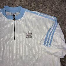 Vintage Lg Adidas Zip Up Shiny Shooting Casual Dress Shirt Trefoil Blue EUC