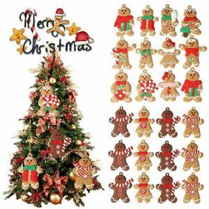 ❤ 12PCs Gingerbread Man Christmas Tree Hanging Pendant Gift Tree Decor Ornament