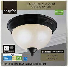 "Chapter 11"" LED Flush-Mount Indoor Ceiling Light Fixture, Oil Rubbed Bronze"