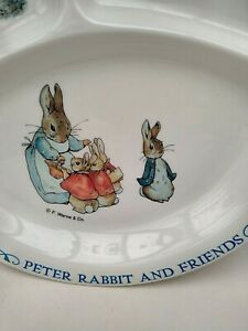 Vintage Peter Rabbit Melamine Sectioned Feeding Dish / Plate Good Condition