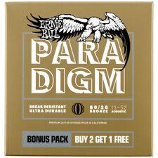 Ernie Ball Set di 3 Mute per Chitarra Acustica Paradigm Light 80/20 Bronze 11-52