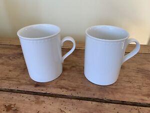 2 Crate & Barrel White Staccato Mugs, Kathleen Wells