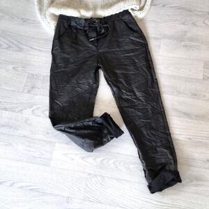 Crash Jogpants Schwarz Leder Optik Hose Stretch Gr. 38 40 42 onesize H5