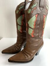 Diba Womens Chantilly Butterfly Inlay Boots Cowboy Pull On 00757 Size 6.5