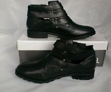 Ladies womens-Ravel-Triple Buckle-Cut Out Black Leather Boots-7 uk shoes_gift