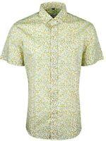 MENS YELLOW FLOWER PRINT SHORT SLEEVE PARTY FORMAL CASUAL DRESS SHIRT £15.99(413