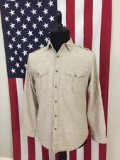 LL Bean Safari Khaki Epaulet Shirt men's SMALL long sleeve epaulettes tan 7406