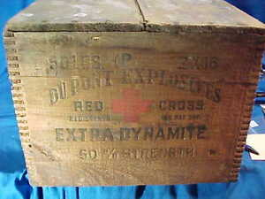 Vintage DUPONT Explosives RED CROSS Brand DYNAMITE Wood SHIPPING BOX