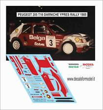 DECALS 1/43 PEUGEOT 205 T16 BELGA DARNICHE RALLY YPRES 1985