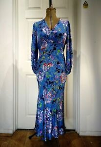Fenn Wright Manson Maelle Blue Print Floral Dress UK10 RRP229