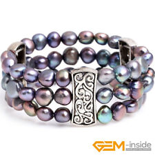 8-9mm Cultured Pearl 3-Strands Linking Stretchy Bracelet Jewelry For Women Gift