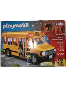 Playmobil City Life School Bus Building 12pc Set 5680 Learning Toys (Box Damage)