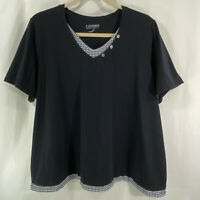 Plus Catherines Top Black with Gingham Trim Stretch Short Sleeve Size 3X 26/28W