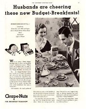"""Vintage 1933 Grape-Nuts Cereal """"Husbands Are Cheering"""" B/W Original Print Ad"""