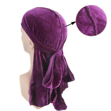US Unisex Men Women Velvet Breathable Bandana Hat Turban Cap Doo Durag Headwear
