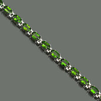 Natural Chrome Diopside Gemstone 5x3mm Oval 925 Sterling Silver Tennis Bracelet