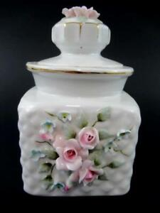 Vintage Lefton China Jar Lid Hand Painted White Gold Trim Roses Hobnail 831