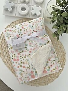 Baby Bub Nursery Blanket Mink Sherpa Cot Soft Pram Flowers Pink Green White Girl