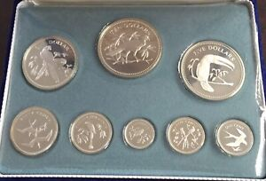 1974 COINAGE OF BELIZE STERLING SILVER 8 COIN SET with box COA
