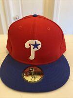 Men's New Era MLB Philadelphia Phillies Fitted Cap Hat Size 7 1/2