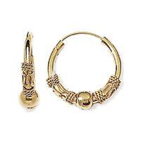 Boucles D'oreilles Créoles Tribal Plaqué Or 18 CARATS 3 Microns Bijoux Femme