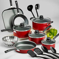 18 Piece Nonstick Cookware Set Kitchen Cooking Pots and Pans Set Red Tramontina