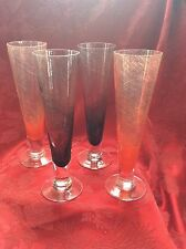 Exceptional Four(4) BLOOMINGDALE'S Colored Crystal CHAMPAGNE WINE Flute Glasses