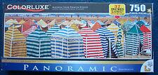 jigsaw puzzle 750  panoramic Colorluxe colorful beach huts Gijon Asturias Spain