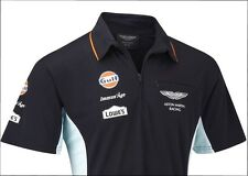 POLO SHIRT Aston Martin Racing Team Replica Le Mans Gulf Navy Sportscar NEW XS