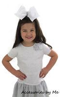 White Cheer Hair Bow 6 inch Big Spirit Bow Cheerleader Softball Volleyball Dance