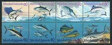 MARSHALL ISLANDS, SCOTT # 595, BLOCK OF 8 PACIFIC FISH & MARINE LIFE YEAR 1995
