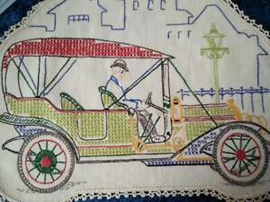 Antique Automobile/Car T-Model Ford?  Vintage Hand Embroidered Centrepiece