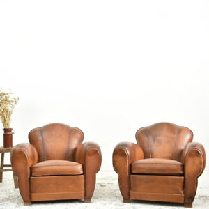 Industrial Vintage Pair of French Leather Club Chairs