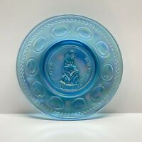 Vtg Set Of 4 Wheaton Glass Betsy Ross Commemorative Plates 1969 Iridescent Blue
