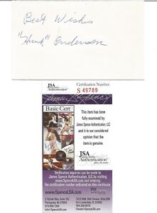 Hunk Anderson autographed 3 x 5 index card JSA Cert of Authenticity NFL