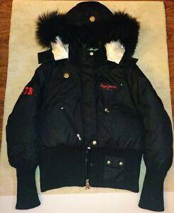 """Pepe Jeans London """"1973"""" Women Puffer Jacket w/Detachable Fur Hood - Size L"""