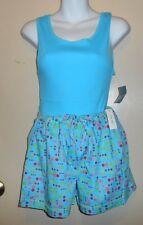 Kathryn Ladies Polka Dot Tank Top & Boxer Short Pajama Set Turquoise M NWT