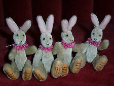 WORLD OF MINIATURE BEARS COLLECTABLE SET OF FOUR EASTER RABBITS HARES IN BASKET