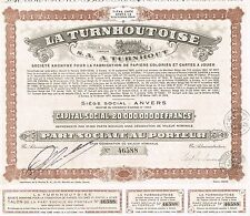 BELGIUM TURNHOUTOISE COMPANYstock certificate 1944 PLAYING CARDS