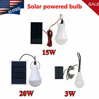 Solar Panel Powered LED Lights Bulb Light Tent Lamp Yard Camping Outdoor/Indoor