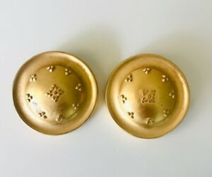 Oversize Vintage Signed LIZ CLAIBORNE Gold Tone Dome Embossed Clip Earrings