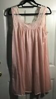 VTG Pink Nightgown Lingerie Nightie Vivana Nylon Medium Lace
