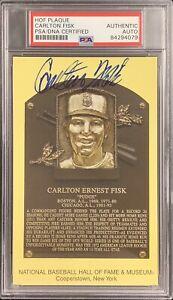 Carlton Fisk Signed Gold Plaque HOF Postcard Yellow Red Sox Autograph PSA/DNA