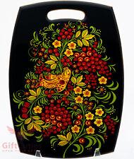 Wooden cheese cutting board Russian folk style painting Khokhloma handmade