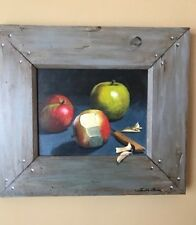"""Original Faith Ohms Acrylic on Wood """"Still Life of Apples"""""""